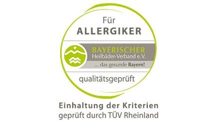 """Logo """"Für Allergiker qualitätsgeprüft"""", © Bayerischer Heilbäder-Verband e.V."""