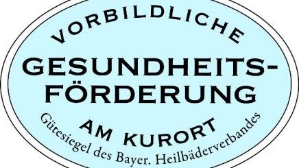 """Gütesiegel """"Vorbildliche Gesundheitsförderung am Kurort"""", © Bayerischer Heilbäder-Verband e.V."""