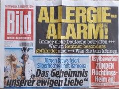 Die Zunahme von Allergien insbesondere bei Senioren war Titelstory einer BILD-Ausgabe im August 2019