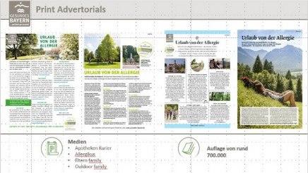 Ganzseitige Advertorials in überregional erscheinenden Zeitschriften stellten das einzigartige Angebot der zertifiziert allergikerfreundlichen Kurorte vor